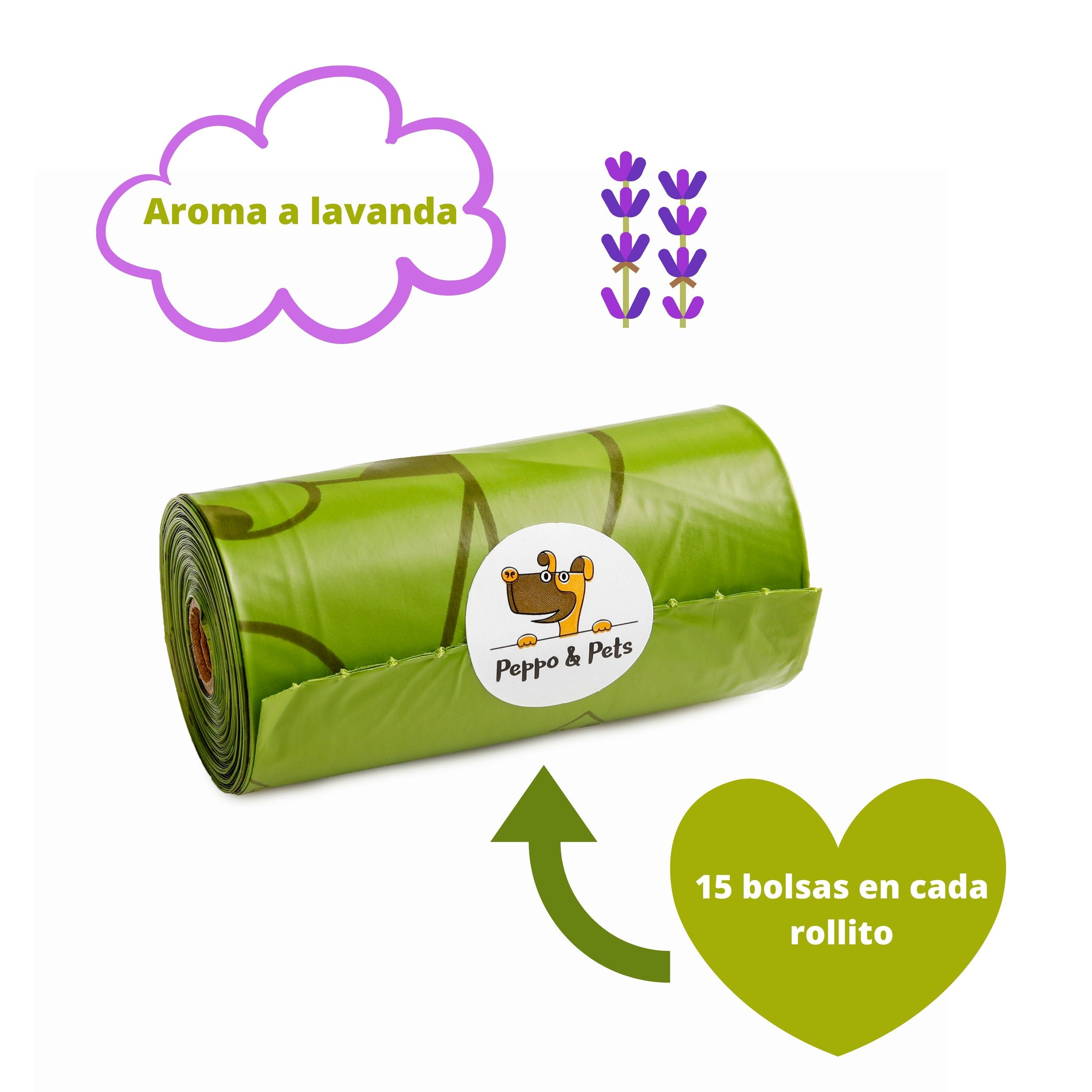 Caja con 240 bolsas biodegradables (16 rollos) + 1 dispensador