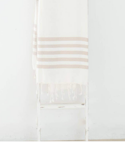 Lightweight Throw Blanket, Tan Stripped