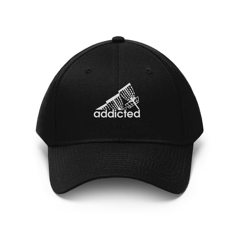 Addicted (to disc golf) white embroidered logo with Velcro closure-Unisex Twill Hat