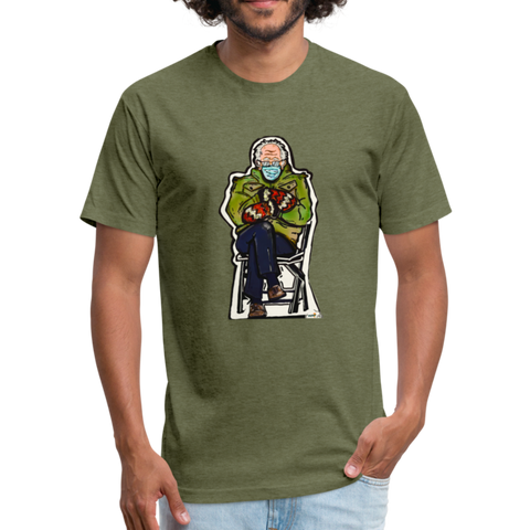 Bernie at the inauguration-Fitted Cotton/Poly T-Shirt by Next Level - heather military green
