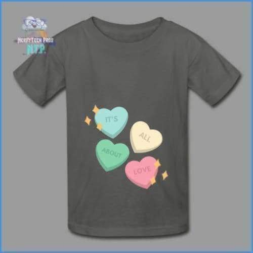 Candy heart - youth tagless Valentines Day tee - charcoal / XS - Hanes Youth Tagless T-Shirt