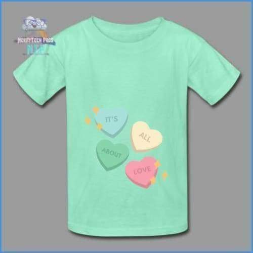 Candy heart - youth tagless Valentines Day tee - deep mint / XS - Hanes Youth Tagless T-Shirt