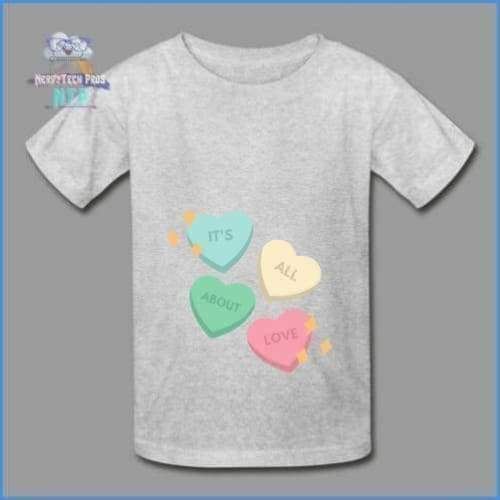 Candy heart - youth tagless Valentines Day tee - heather gray / XS - Hanes Youth Tagless T-Shirt
