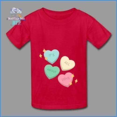Candy heart - youth tagless Valentines Day tee - red / XS - Hanes Youth Tagless T-Shirt
