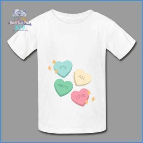 Candy heart - youth tagless Valentines Day tee - white / XS - Hanes Youth Tagless T-Shirt