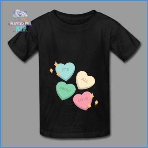 Candy heart - youth tagless Valentines Day tee - black / XS - Hanes Youth Tagless T-Shirt