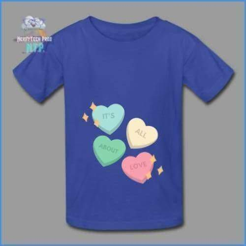 Candy heart - youth tagless Valentines Day tee - royal blue / XS - Hanes Youth Tagless T-Shirt