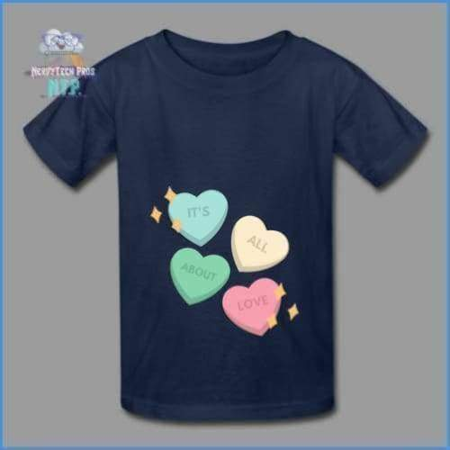 Candy heart - youth tagless Valentines Day tee - navy / XS - Hanes Youth Tagless T-Shirt
