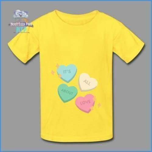 Candy heart - youth tagless Valentines Day tee - yellow / XS - Hanes Youth Tagless T-Shirt