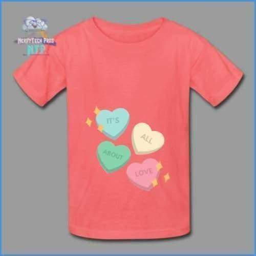Candy heart - youth tagless Valentines Day tee - coral / XS - Hanes Youth Tagless T-Shirt