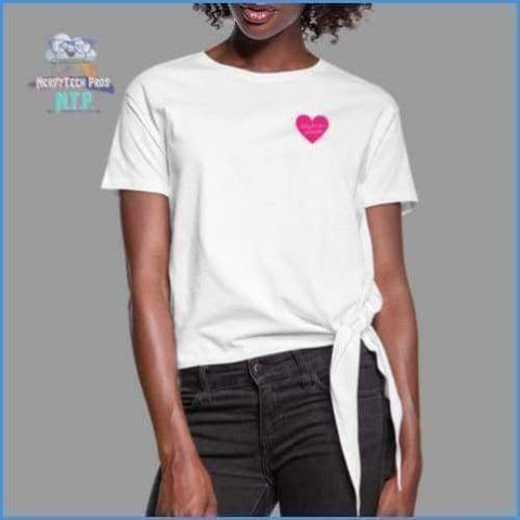 Here for the chocolate- Womens premium knotted valentines tee - white / S - Womens Knotted T-Shirt