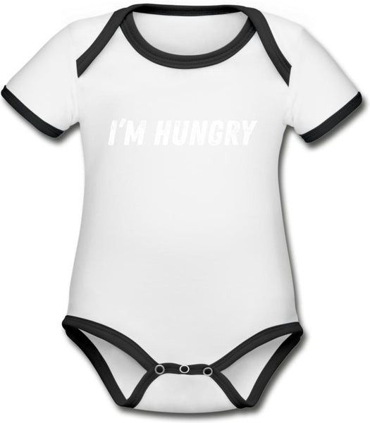 I'm hungry -Organic Contrast Short Sleeve Baby onesie - white/black