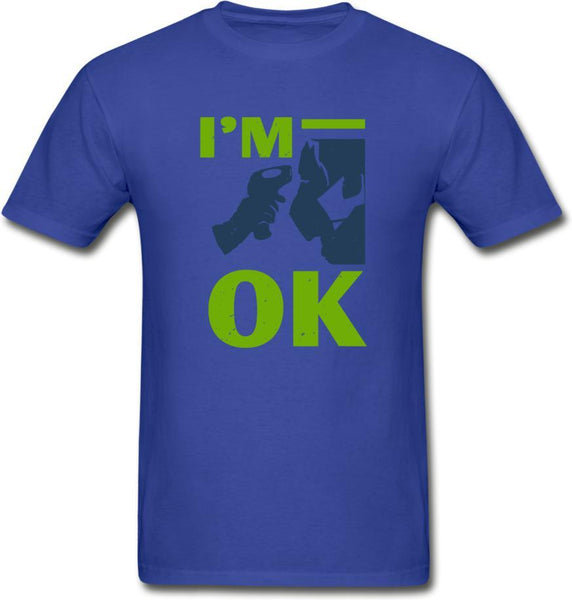 I'm Ok- Hanes Adult Tagless T-Shirt - royal blue