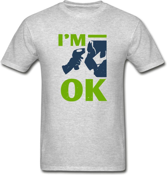 I'm Ok- Hanes Adult Tagless T-Shirt - heather gray