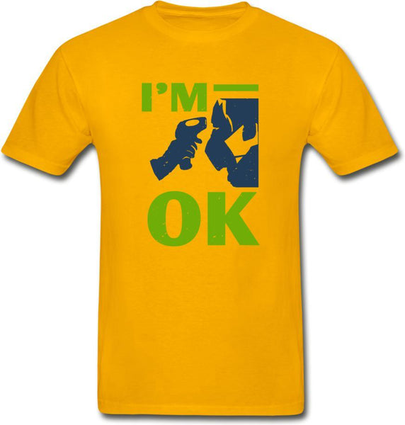 I'm Ok- Hanes Adult Tagless T-Shirt - gold