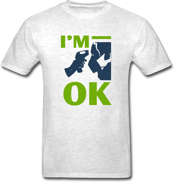 I'm Ok- Hanes Adult Tagless T-Shirt - light heather gray