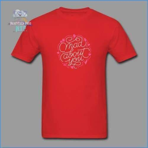 Mad about you-Mens Valentines Tee - red / S - Mens T-Shirt