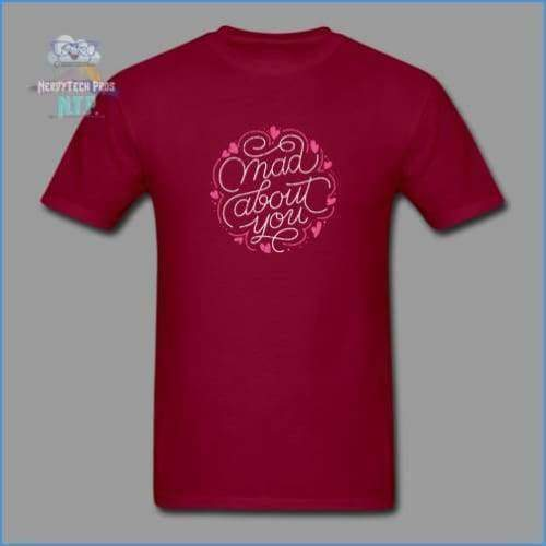 Mad about you-Mens Valentines Tee - burgundy / S - Mens T-Shirt