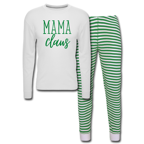 Mama Claus (Green) - Unisex Pajama Set - white/green stripe