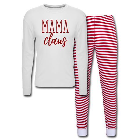 Mama Claus (Red) - Unisex Pajama Set - white/red stripe