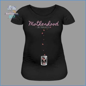 Motherhood In Progress- Stretch Maternity Tee - black / S - Womens Maternity T-Shirt