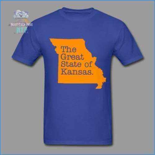 The Great State of Kansas- Adult Tagless T-Shirt - royal blue / S - Hanes Adult Tagless T-Shirt