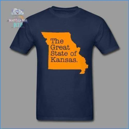 The Great State of Kansas- Adult Tagless T-Shirt - navy / S - Hanes Adult Tagless T-Shirt