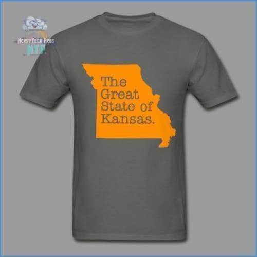 The Great State of Kansas- Adult Tagless T-Shirt - charcoal / S - Hanes Adult Tagless T-Shirt
