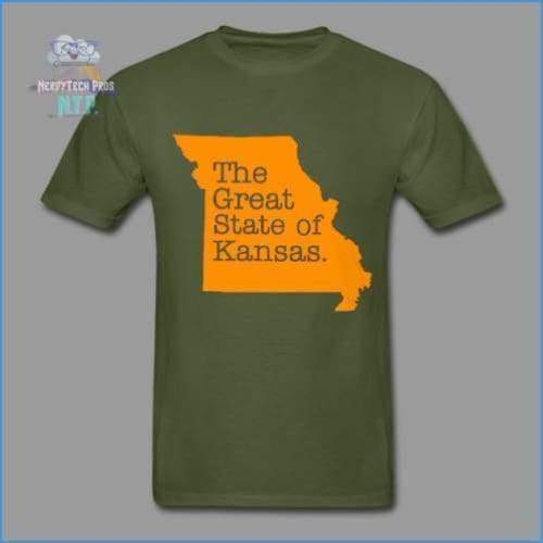 The Great State of Kansas- Adult Tagless T-Shirt - military green / S - Hanes Adult Tagless T-Shirt