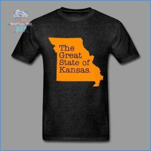 The Great State of Kansas- Adult Tagless T-Shirt - charcoal gray / S - Hanes Adult Tagless T-Shirt