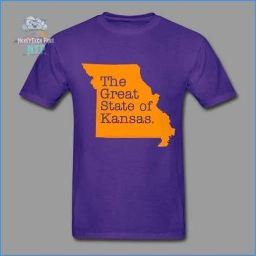 The Great State of Kansas- Adult Tagless T-Shirt - purple / S - Hanes Adult Tagless T-Shirt