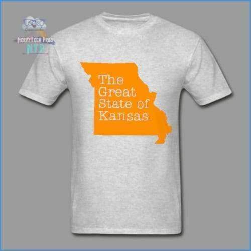 The Great State of Kansas- Adult Tagless T-Shirt - heather gray / S - Hanes Adult Tagless T-Shirt
