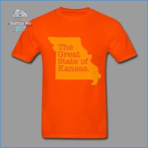 The Great State of Kansas- Adult Tagless T-Shirt - orange / S - Hanes Adult Tagless T-Shirt