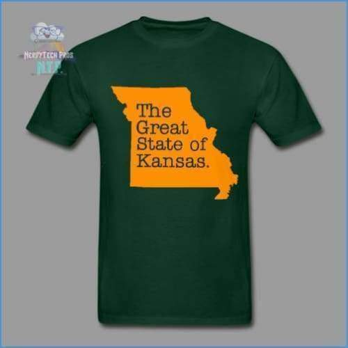 The Great State of Kansas- Adult Tagless T-Shirt - forest green / S - Hanes Adult Tagless T-Shirt