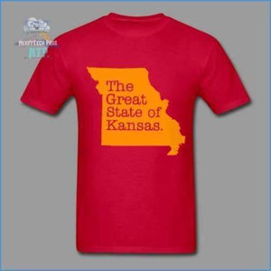 The Great State of Kansas- Adult Tagless T-Shirt - red / S - Hanes Adult Tagless T-Shirt