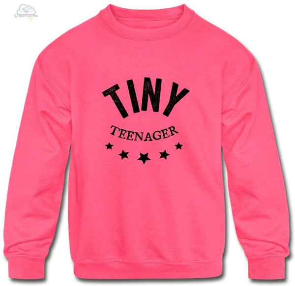 Tiny Teenager-Kids Crewneck Sweatshirt - neon pink / S - Kids Crewneck Sweatshirt