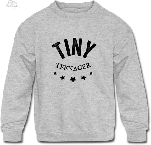 Tiny Teenager-Kids Crewneck Sweatshirt - heather gray / S - Kids Crewneck Sweatshirt