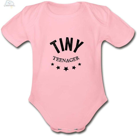Tiny Teenager-Organic Short Sleeve Baby Bodysuit - light pink / Newborn - Organic Short Sleeve Baby Bodysuit