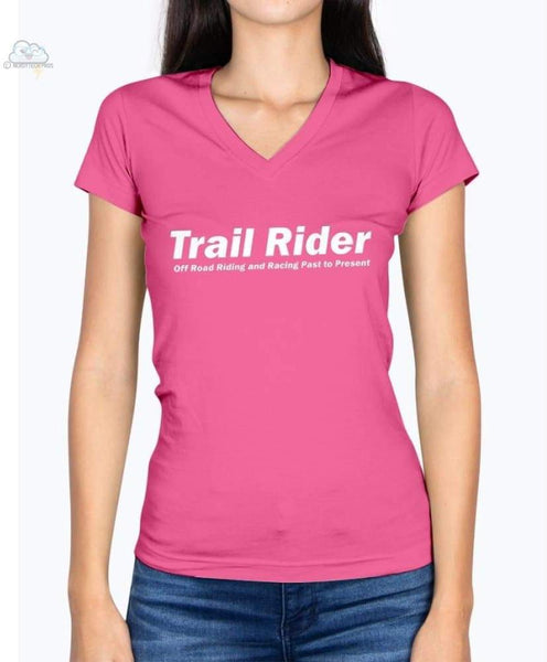 Trail Rider-Fruit of the Loom Ladies - V Neck Tee - Cyber Pink / S - Shirts