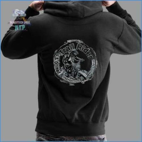 Trail Rider Large Logo Back-Mens Heavyweight Premium Hoodie - black / S - Mens Heavyweight Premium Hoodie