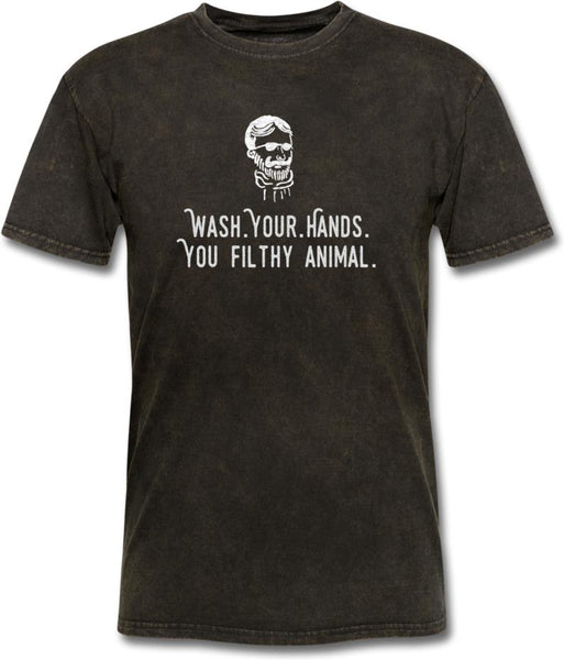 Wash Your Hands, you filthy animal-Mens/ Unisex Tee - mineral black