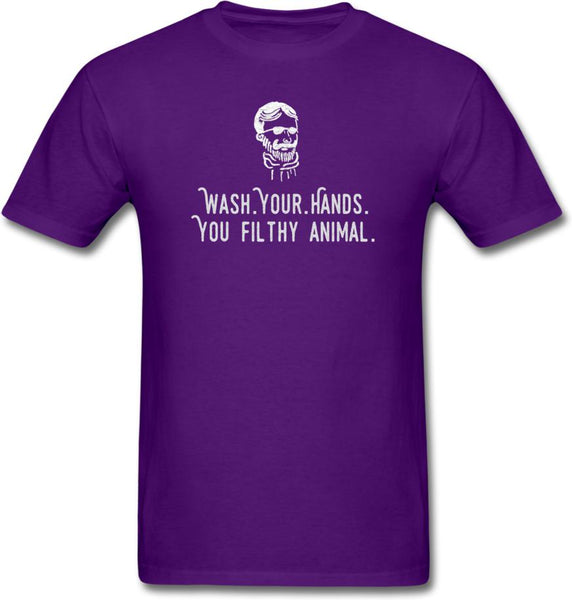 Wash Your Hands, you filthy animal-Mens/ Unisex Tee - purple