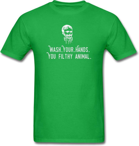 Wash Your Hands, you filthy animal-Mens/ Unisex Tee - bright green