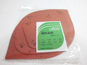 袖丸み型 クロバー 3枚組 Templates for making kimono sleeves roundings  / 3 different size sheets for 1 set