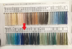 絹手縫い糸46番 Silk thread for hand sewing  / 40 meters : color number 46 / blue