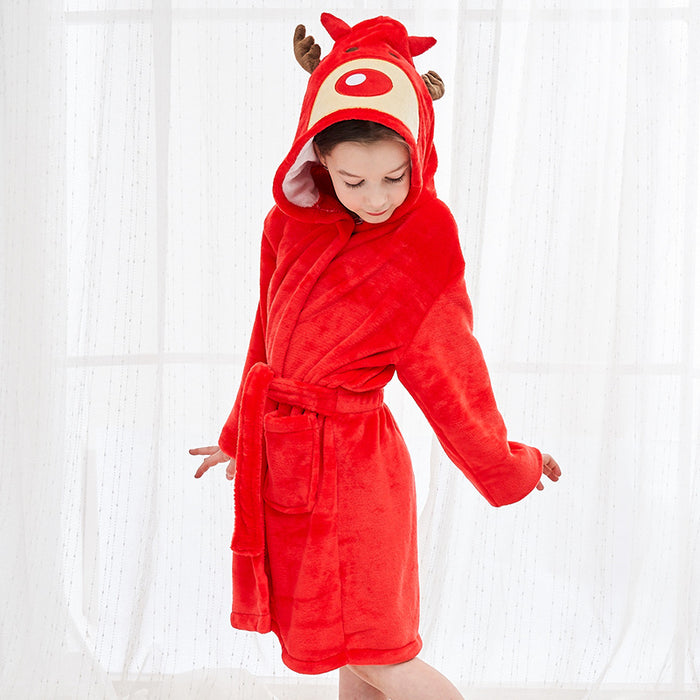 Funny flannel gown cartoon hooded animal Baby Onesie