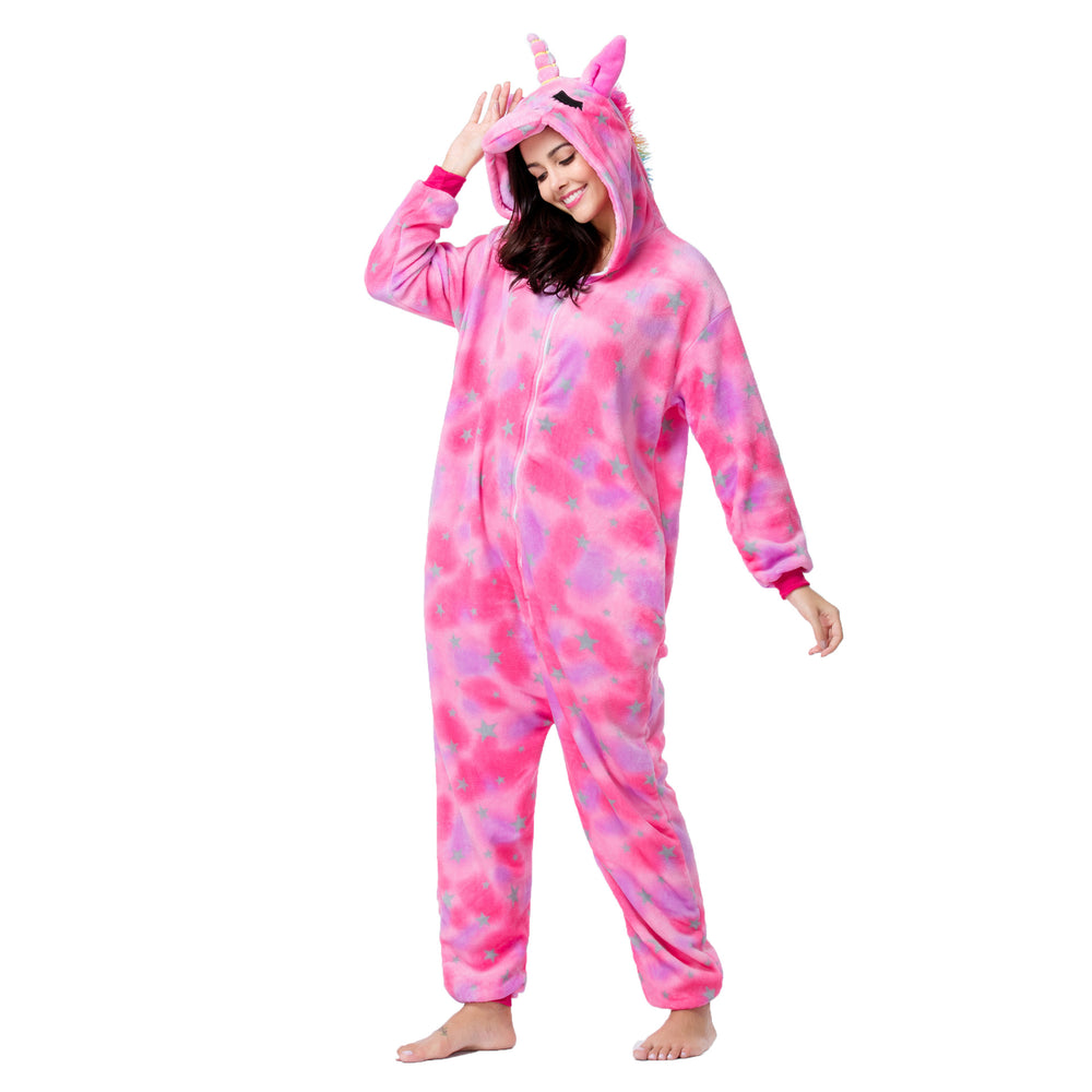 Funny Pink Couple Matching Unicorn Adult Rainbow Onesie