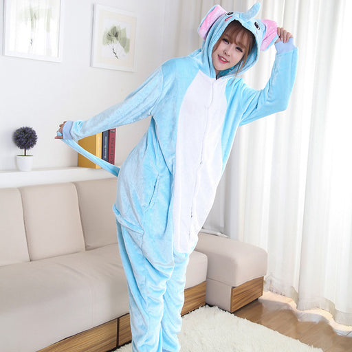 Funny Funny Animal Pajamas For Female Blue Elephant Adult Onesie