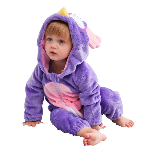 Younkiu Cartoon Flannel Toddler Funny Animal Purple Chicken Romper Baby Onesie