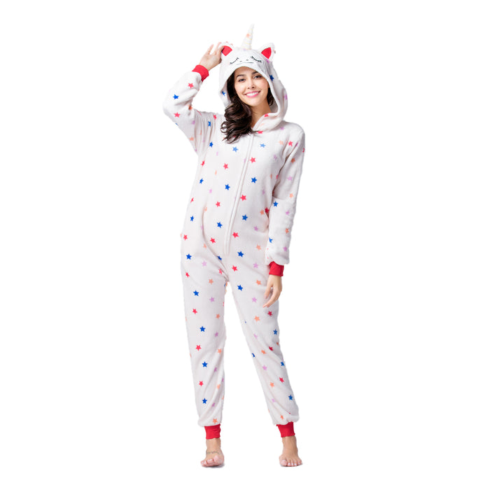 Funny Funny Animal Pajamas For Female Purple Cat Starring Adult Onesie